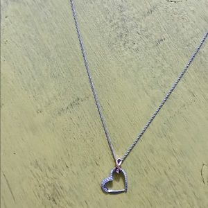 Jewelry - .925 Sterling silver and diamond heart necklace.